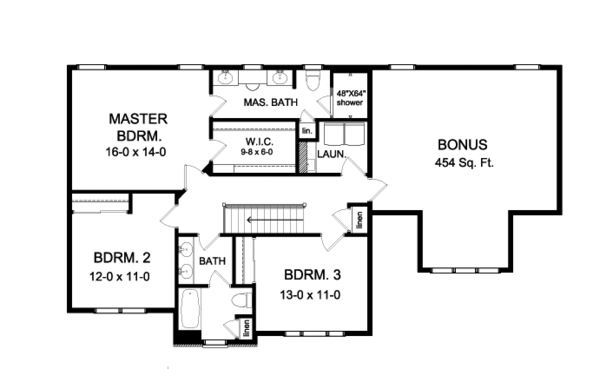 Colonial Floor Plan - Upper Floor Plan Plan #1010-83