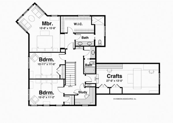 Country Floor Plan - Upper Floor Plan Plan #928-250