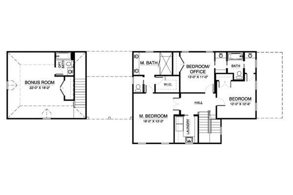 Southern Floor Plan - Upper Floor Plan Plan #900-3
