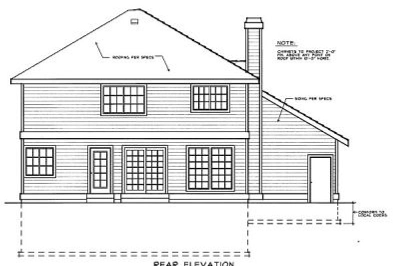 Traditional Exterior - Rear Elevation Plan #90-203 - Houseplans.com