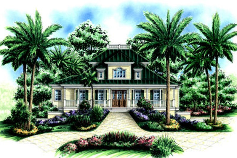 Beach Style House Plan - 5 Beds 4.5 Baths 4109 Sq/Ft Plan #27-413 Exterior - Front Elevation