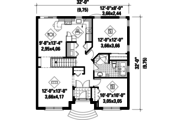 Country Style House Plan - 2 Beds 2 Baths 1292 Sq/Ft Plan #25-4455 Floor Plan - Main Floor Plan
