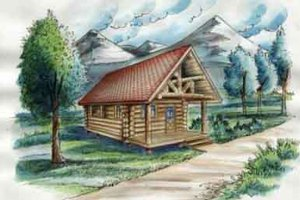 Log Exterior - Front Elevation Plan #117-117