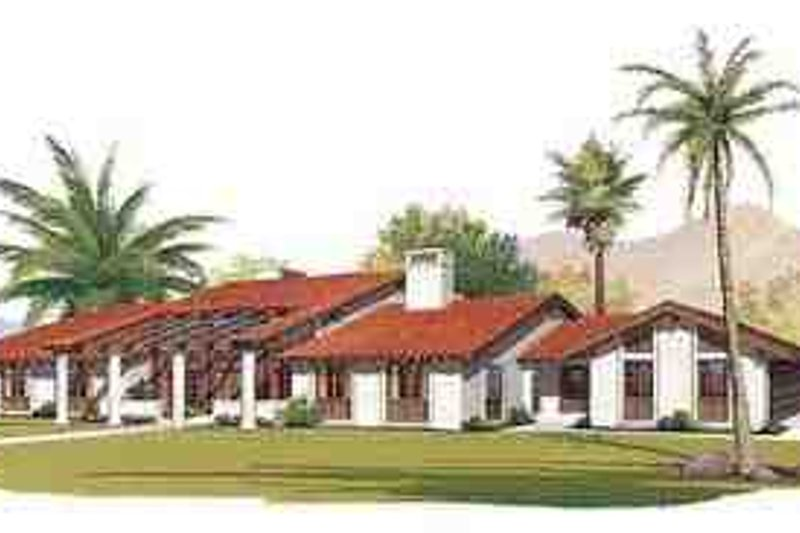 Adobe / Southwestern Exterior - Front Elevation Plan #72-232