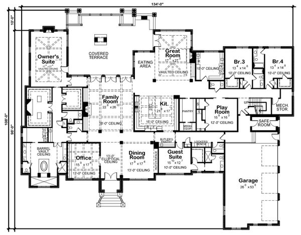 European Floor Plan - Main Floor Plan Plan #20-2333