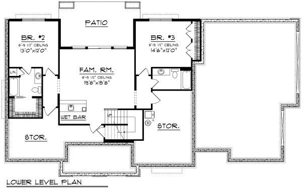 Cottage Floor Plan - Lower Floor Plan Plan #70-1180