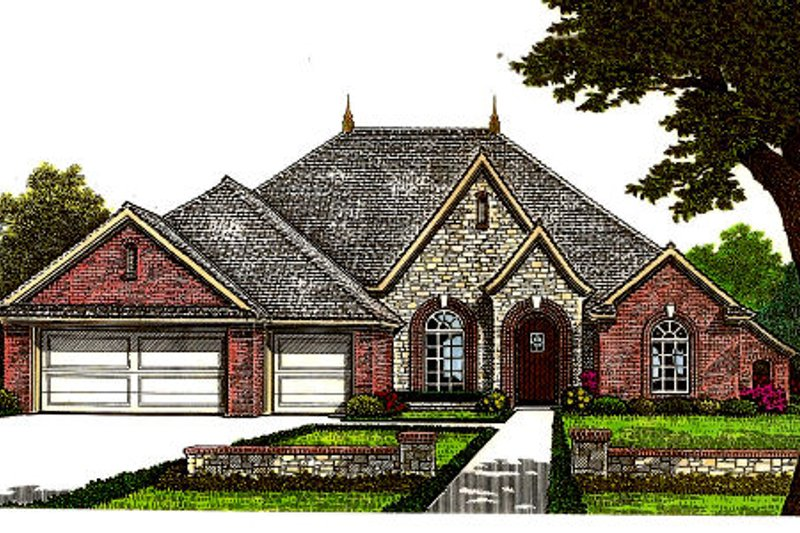 European Style House Plan - 4 Beds 3 Baths 2955 Sq/Ft Plan #310-674 Exterior - Front Elevation