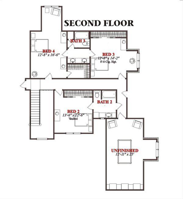 Traditional Floor Plan - Upper Floor Plan Plan #63-213