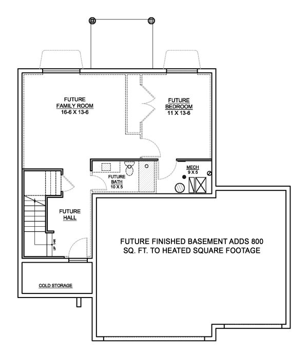 Traditional Floor Plan - Lower Floor Plan Plan #1073-7