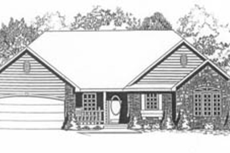 Traditional Style House Plan - 3 Beds 2 Baths 1318 Sq/Ft Plan #58-132 Exterior - Front Elevation