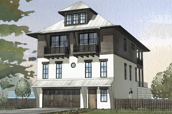 Beach Exterior - Front Elevation Plan #901-114