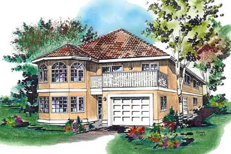 European Style House Plan - 3 Beds 2 Baths 1340 Sq/Ft Plan #18-217 Exterior - Front Elevation