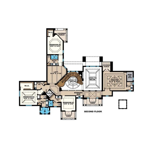 Mediterranean Floor Plan - Upper Floor Plan Plan #27-549