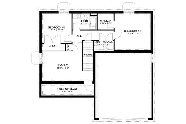 Traditional Floor Plan - Lower Floor Plan #1060-68