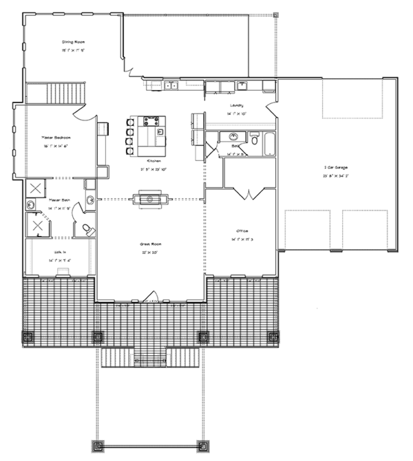 Ranch Floor Plan - Main Floor Plan Plan #1060-21