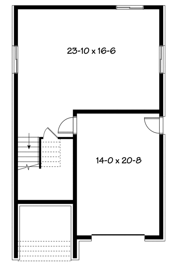 Contemporary Floor Plan - Lower Floor Plan Plan #23-2584