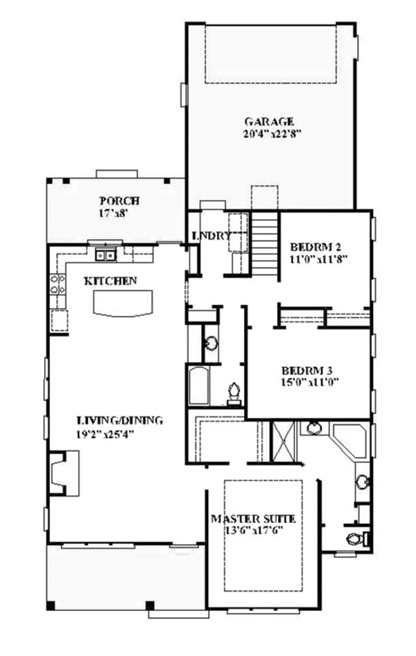 Architectural House Design - Ranch Floor Plan - Main Floor Plan #991-28
