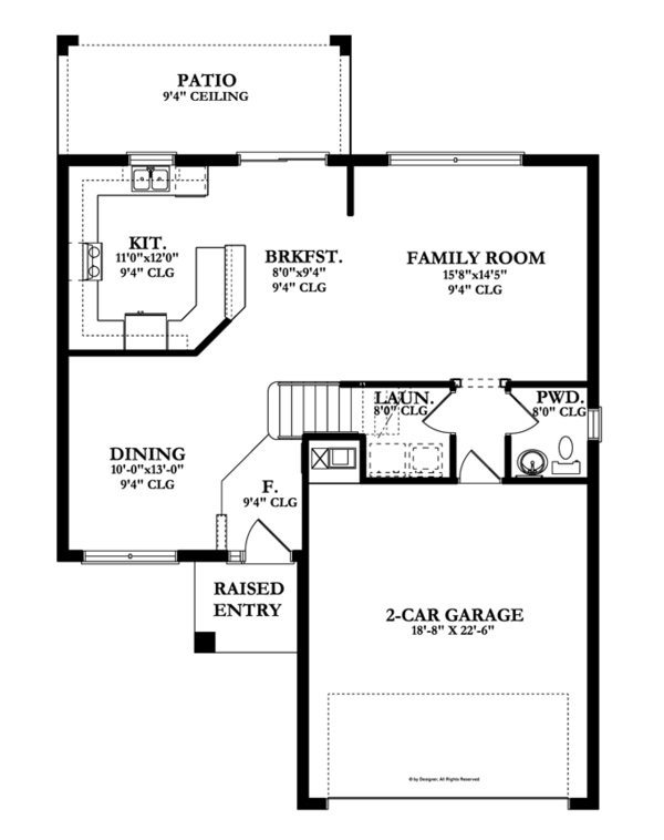 Colonial Floor Plan - Main Floor Plan Plan #1058-23