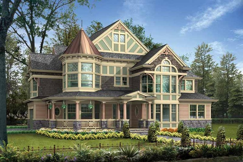 Dream House Plan - Victorian Exterior - Front Elevation Plan #132-472