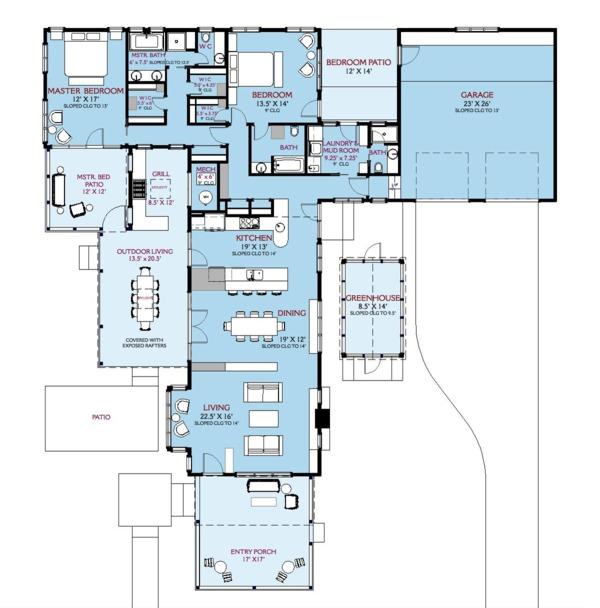 Country Floor Plan - Main Floor Plan #917-43