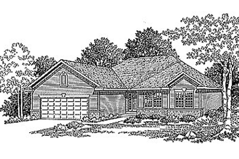 Traditional Style House Plan - 3 Beds 2.5 Baths 1561 Sq/Ft Plan #70-151 Exterior - Front Elevation