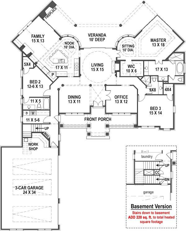Ranch Floor Plan - Main Floor Plan #119-431