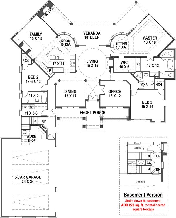 Ranch Floor Plan - Main Floor Plan #119-431