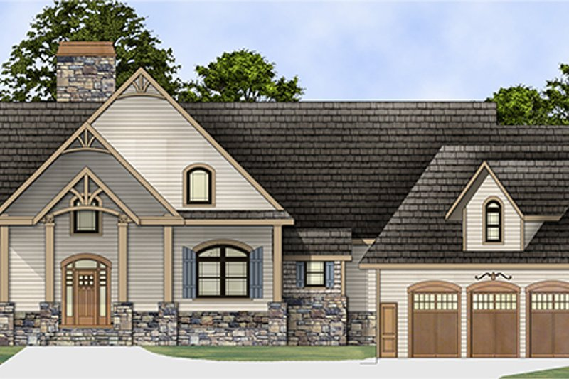 Craftsman Exterior - Front Elevation Plan #119-424