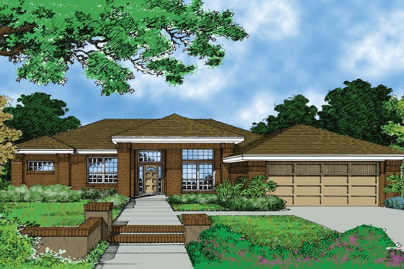 Prairie Exterior - Front Elevation Plan #417-531 - Houseplans.com