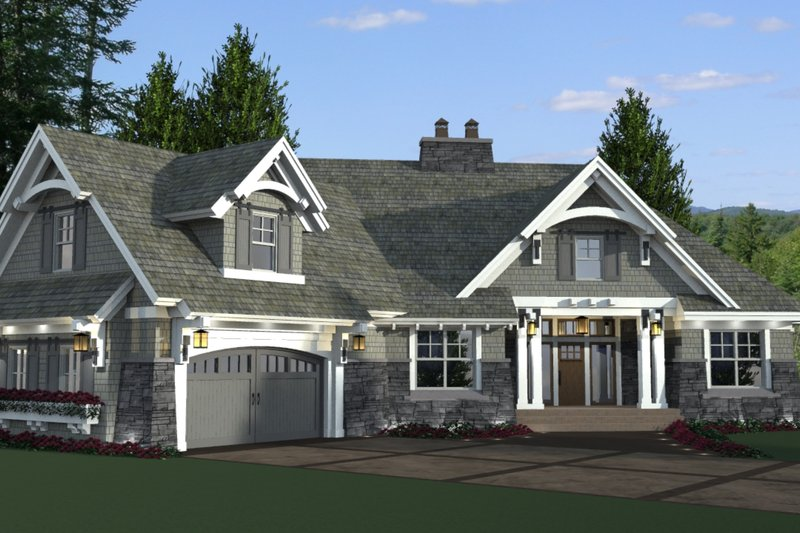 Architectural House Design - Craftsman Exterior - Front Elevation Plan #51-573