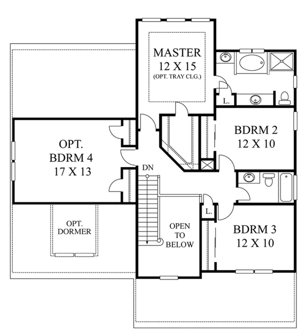 Colonial Floor Plan - Upper Floor Plan Plan #1053-67