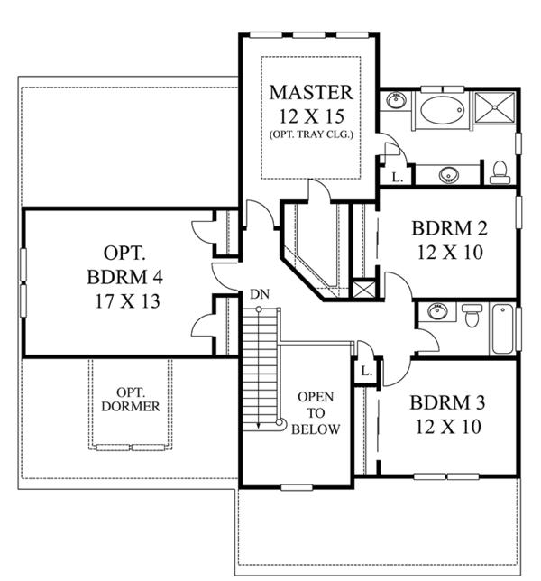 House Plan Design - Colonial Floor Plan - Upper Floor Plan #1053-67