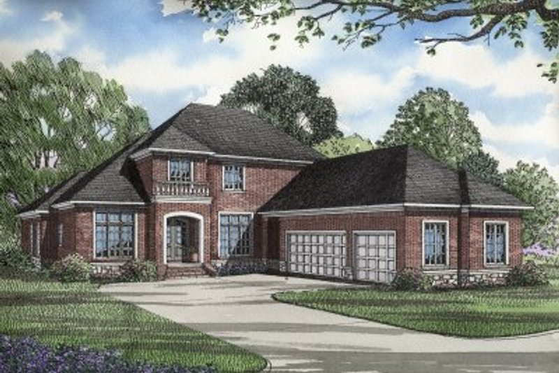 Architectural House Design - Traditional Exterior - Front Elevation Plan #17-251