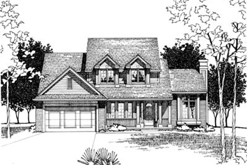 Traditional Style House Plan - 4 Beds 2.5 Baths 2055 Sq/Ft Plan #20-2011 Exterior - Front Elevation