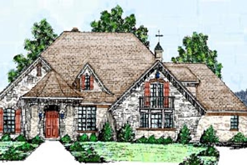 European Style House Plan - 3 Beds 3.5 Baths 2814 Sq/Ft Plan #52-120 Exterior - Front Elevation