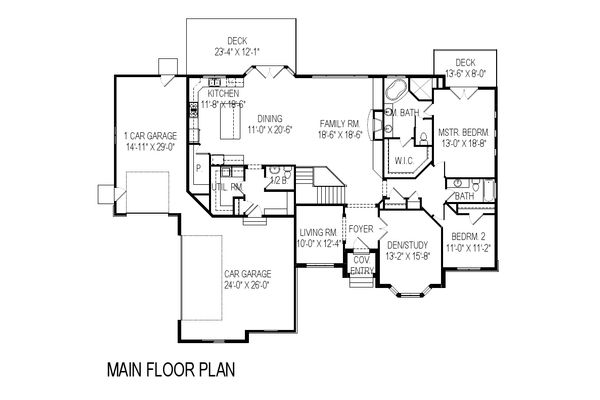 Traditional Floor Plan - Main Floor Plan Plan #920-20