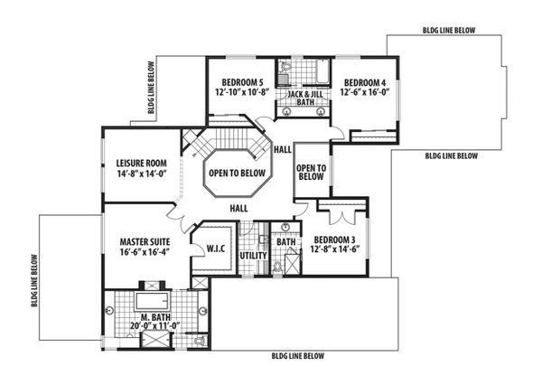 Craftsman Floor Plan - Upper Floor Plan Plan #569-41