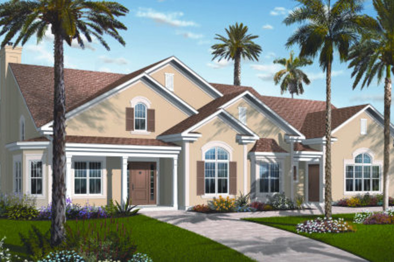 Mediterranean Exterior - Front Elevation Plan #23-2206