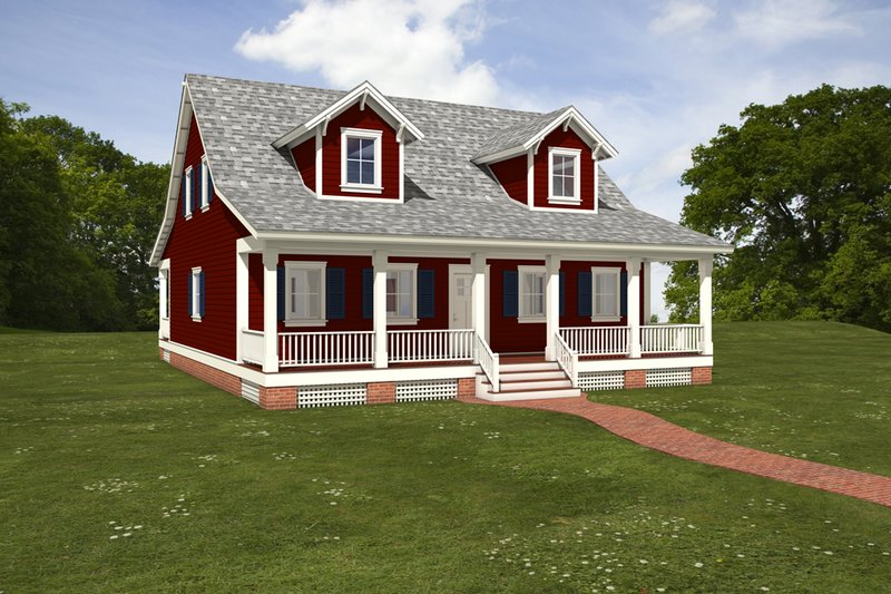 Dream House Plan - Farmhouse Exterior - Front Elevation Plan #497-7