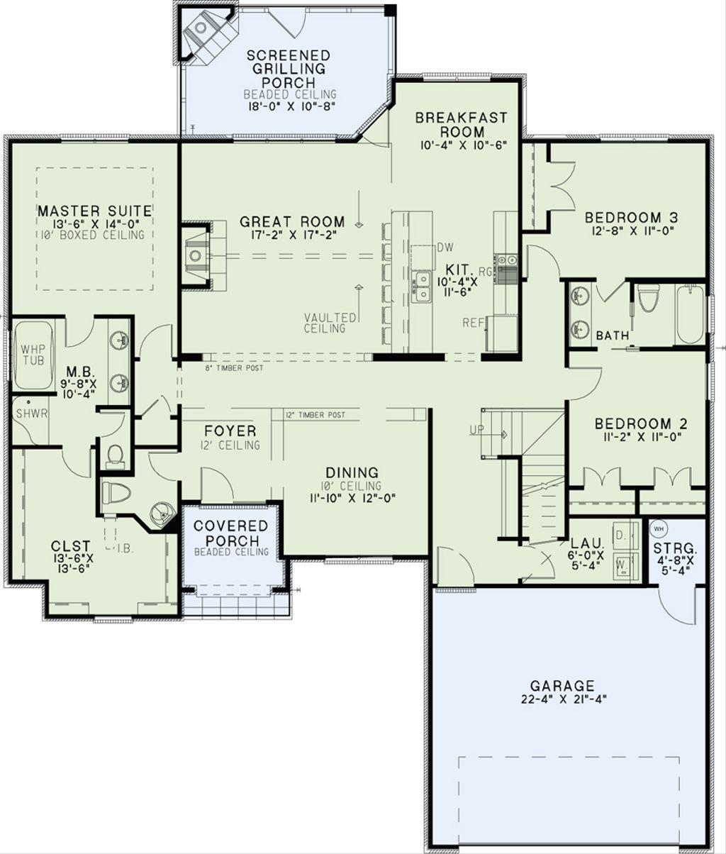 European Style House Plan 3 Beds 2 5 Baths 2070 Sq Ft