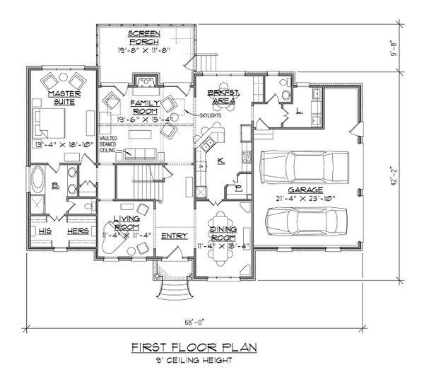 Traditional Floor Plan - Main Floor Plan Plan #1054-71