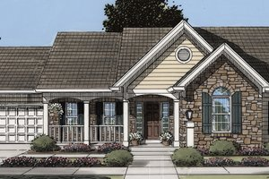 Country Exterior - Front Elevation Plan #46-895