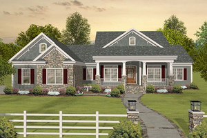 Southern style country designed home, front elevation