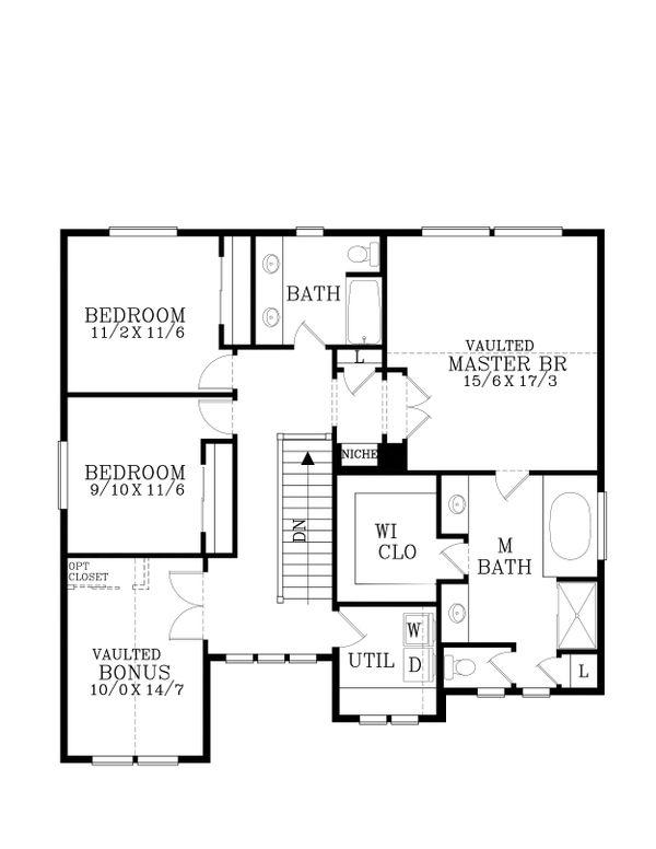 Craftsman Floor Plan - Upper Floor Plan Plan #53-471