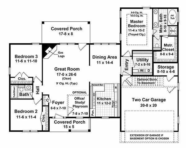 Ranch Floor Plan - Main Floor Plan Plan #21-144