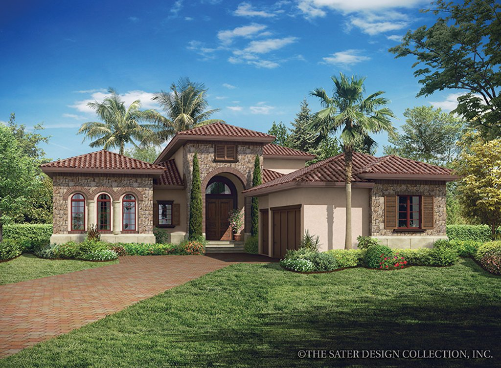 Mediterranean style house plan 3 beds 3 baths 3648 sq ft for Mediterranean house plans with basement