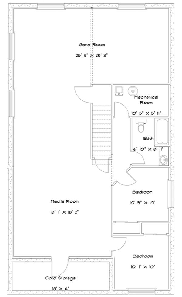 Ranch Floor Plan - Lower Floor Plan Plan #1060-22