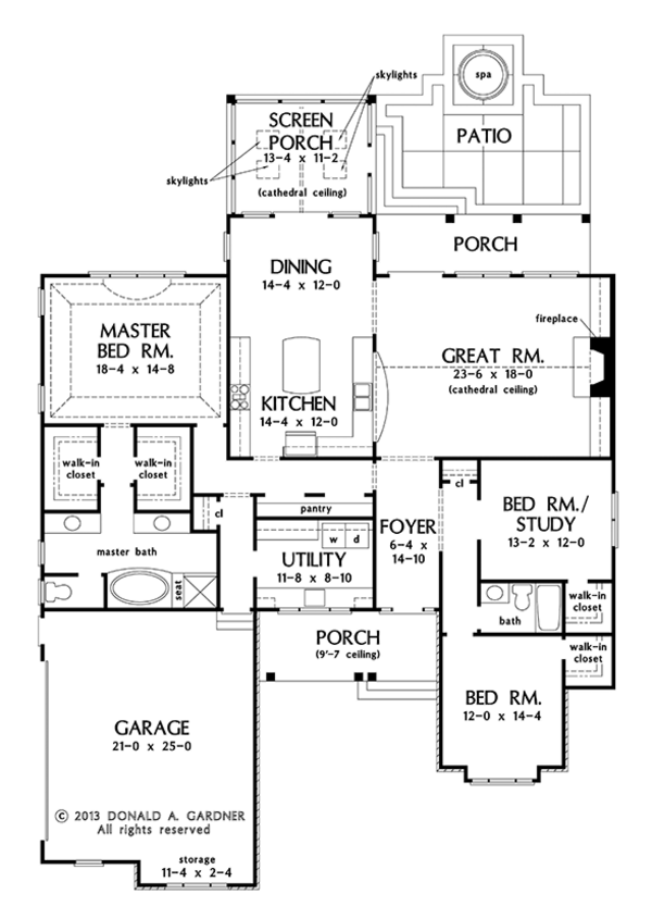Craftsman Floor Plan - Main Floor Plan Plan #929-972