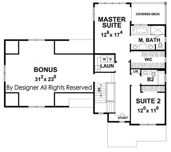 House Plan Design - Colonial Floor Plan - Upper Floor Plan #20-2248
