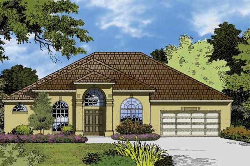 Mediterranean Exterior - Front Elevation Plan #1015-16